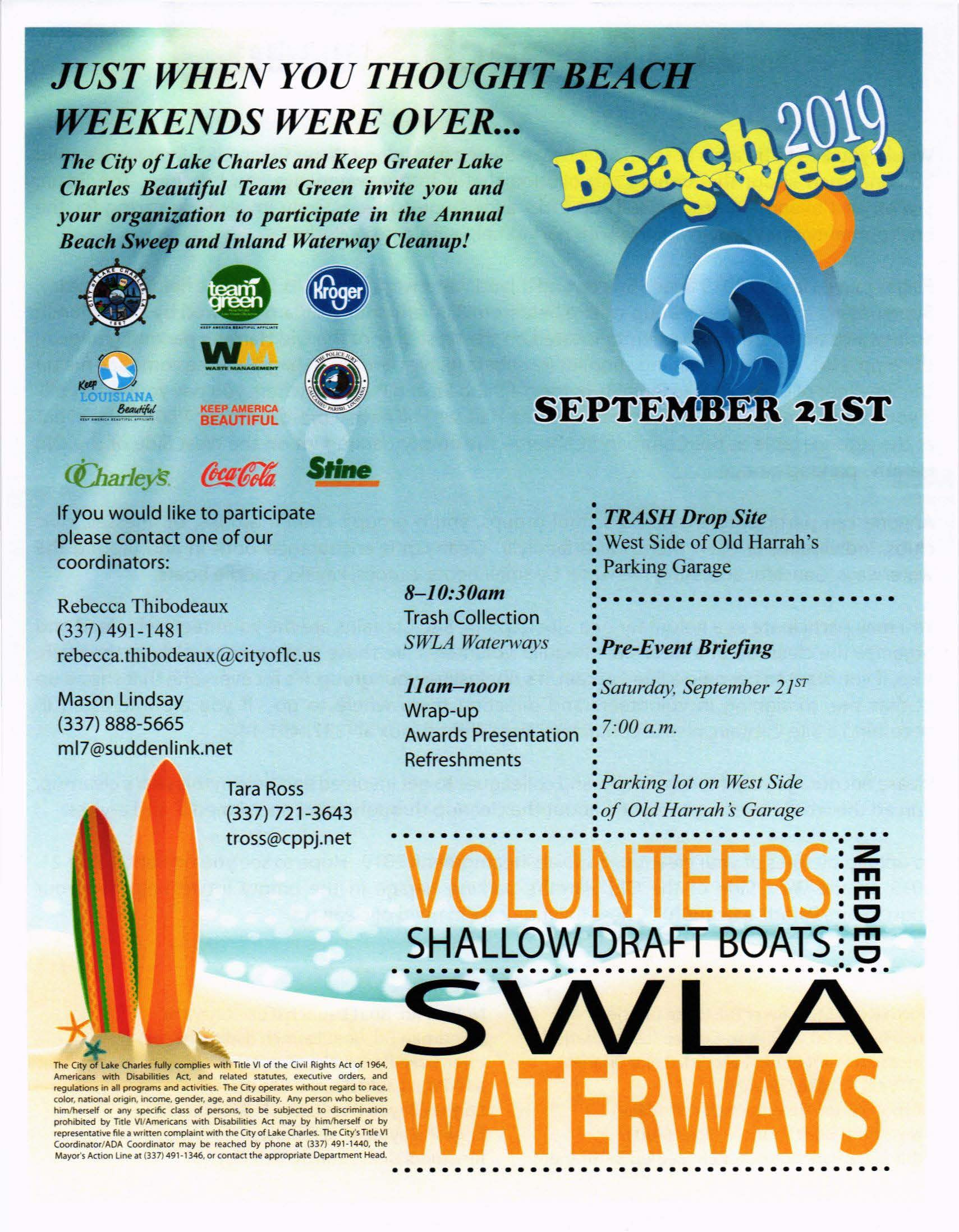 2019 Beach Sweep info