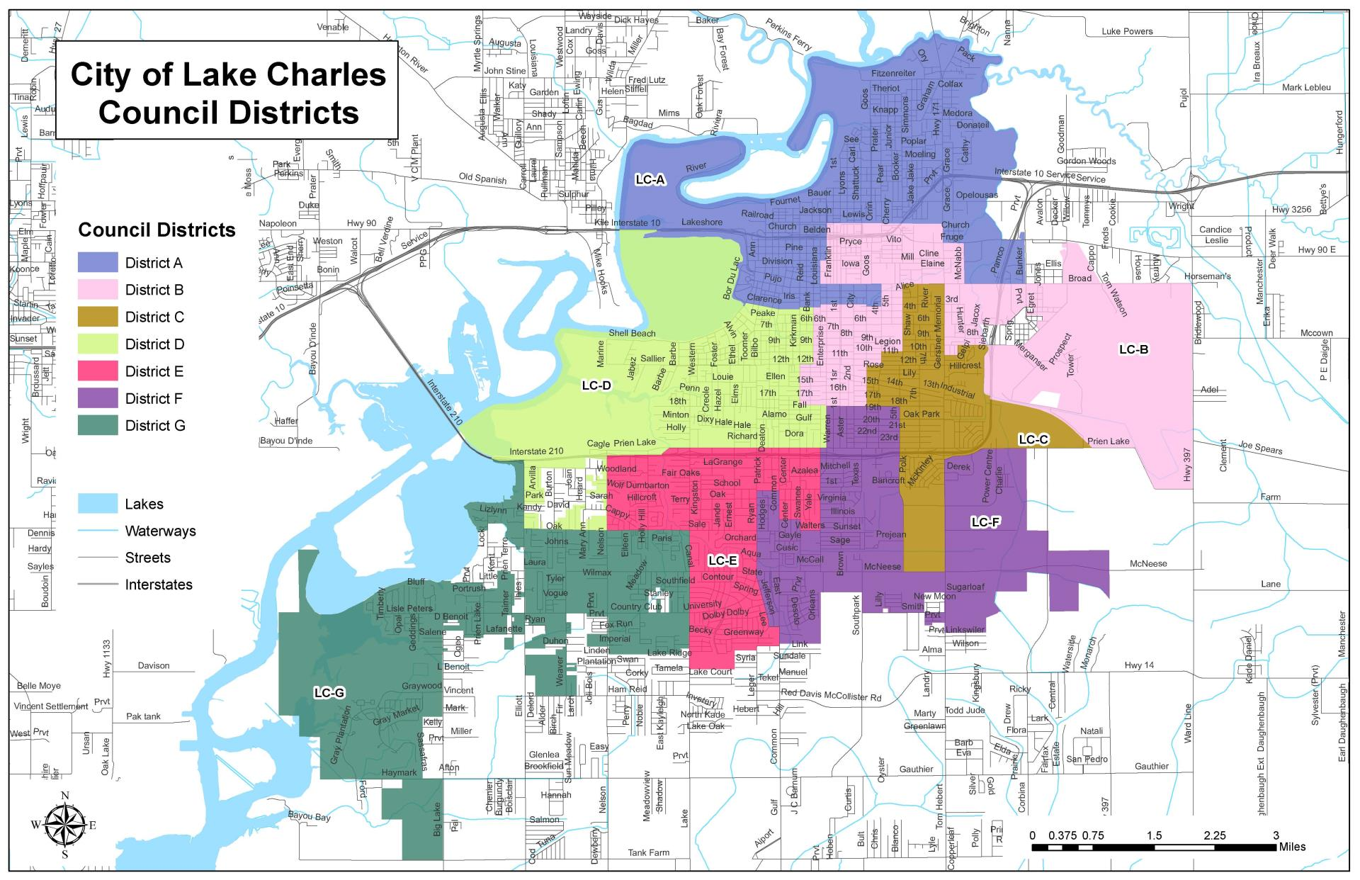 Lake Charles Council Districts