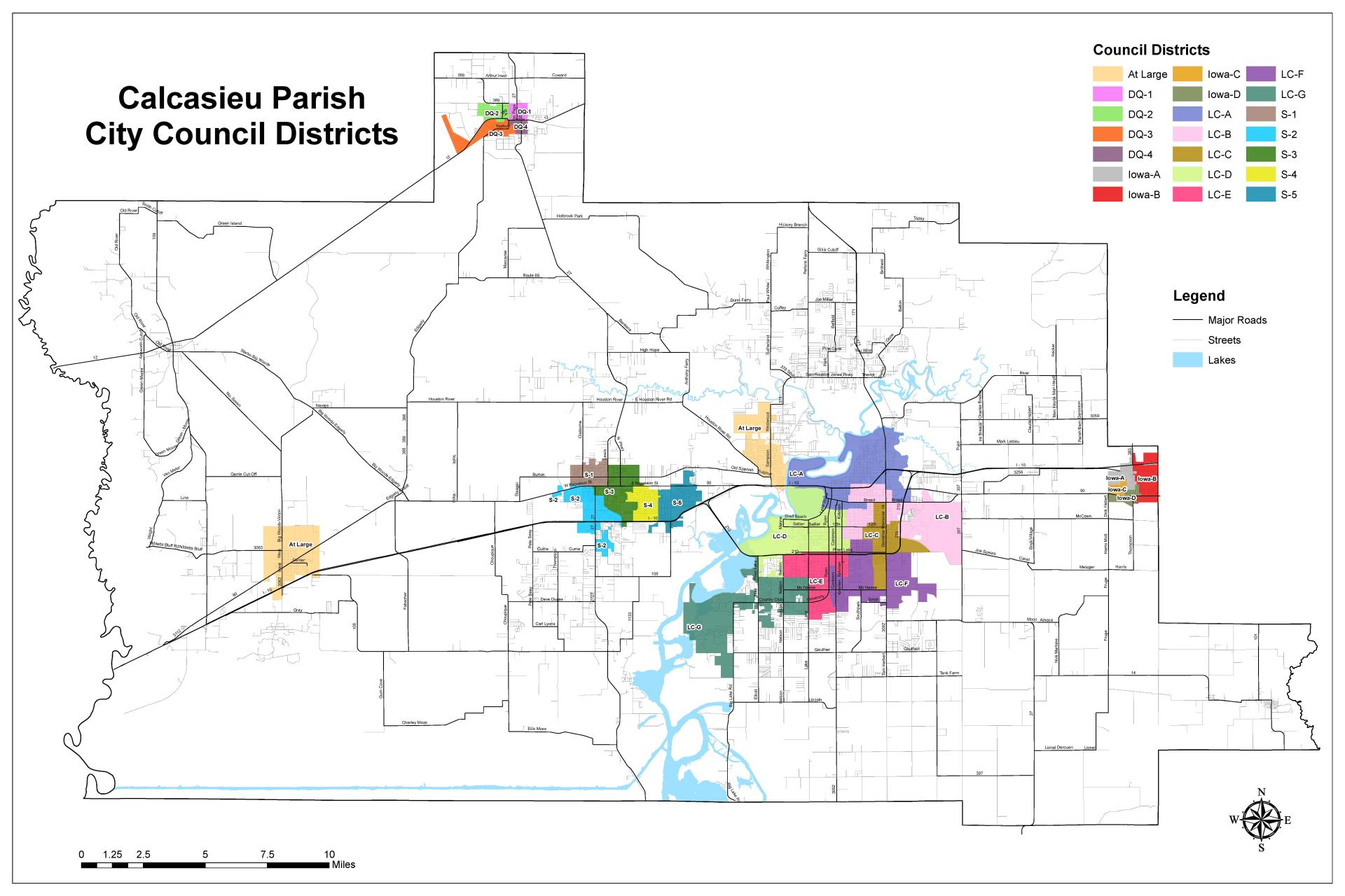 Calcasieu Parish Council Districts