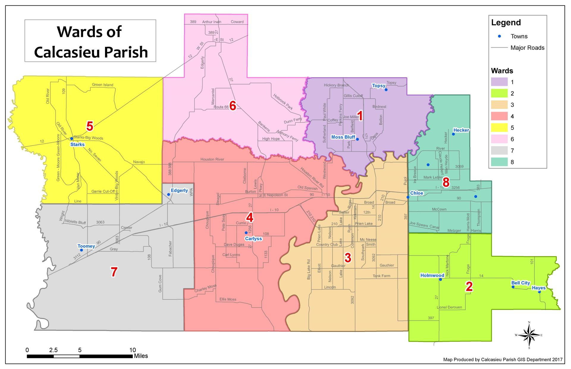 Calcasieu Parish Ward Map